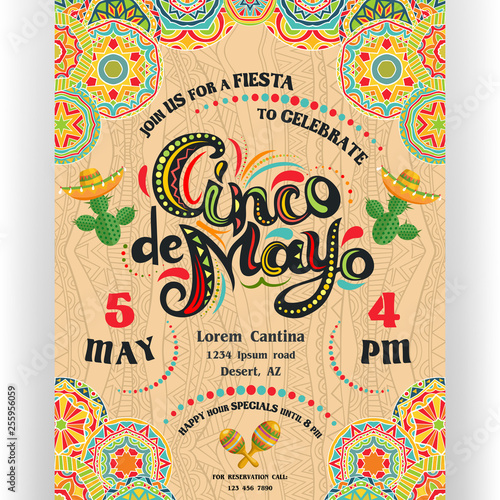 Cinco De Mayo announcing poster template with ornate lettering and cactuses in sombrero Canvas Print