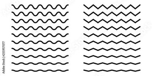 Fotografie, Obraz  Set of wavy horizontal lines. Vector design element