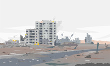 Destroyed City Concept Landscape Background Illustration, Building Between The Ruins And Concrete, War Destruction Panorama, City Quarter After Earthquake, Destroyed Residential Neighborhood