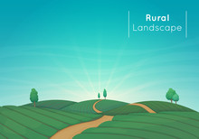 Rural Farming Landscape Vector Illustration. Green Agricultural Fields With Trees And A Dirt Road. Blue Sky With Clouds And Sunbeams In The Background.