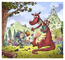 Dragon Y Principe Con Libros Y...