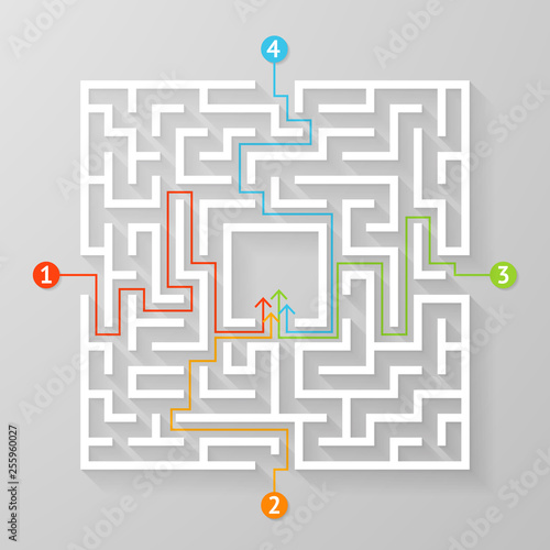 Fotomural Labyrinth maze symbol shape vector illustration.