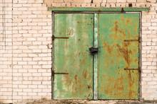 Green Rusted Metal Door