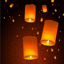 Happy Diwali Holiday Background With Sky Lanterns Floating Over Mandala, Indian Festival Of Lights Celebration Concept, Creative Vector Illustration.
