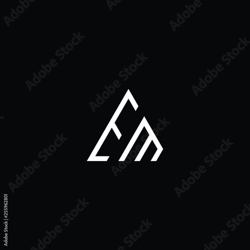 Photo  letter EM ME minimalist art monogram triangle shape logo, white color on black background