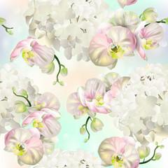 Wektorowy botaniczny bezszwowy wzór z storczykowymi kwiatami.