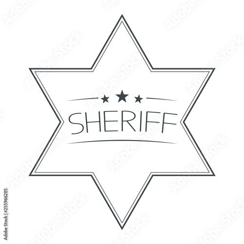 Valokuva Sheriffs Star Isolated on White Background. Vector Illustration.