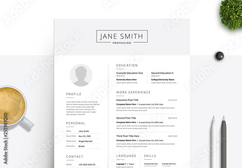 Black And White Resume Cover Letter Set With Gray Header Element