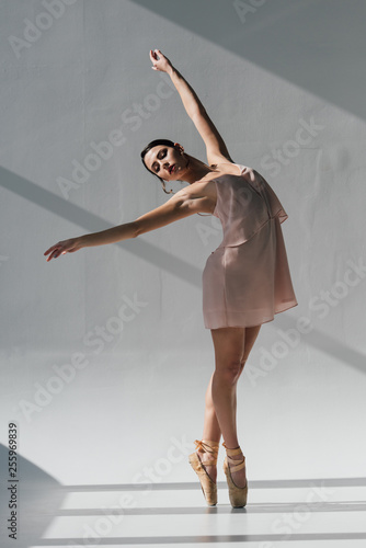 Fototapeta graceful ballerina in pink dress dancing in sunlight