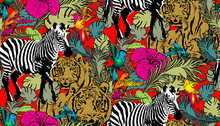 Pattern Of Zebra And Tiger. Su...