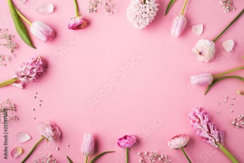Various of pink flowers on a pink background. - 255971475