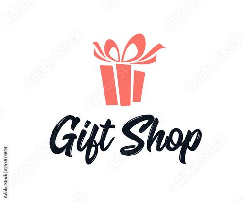 Simple Logo Illustration for gift shop logo design Canvas Print