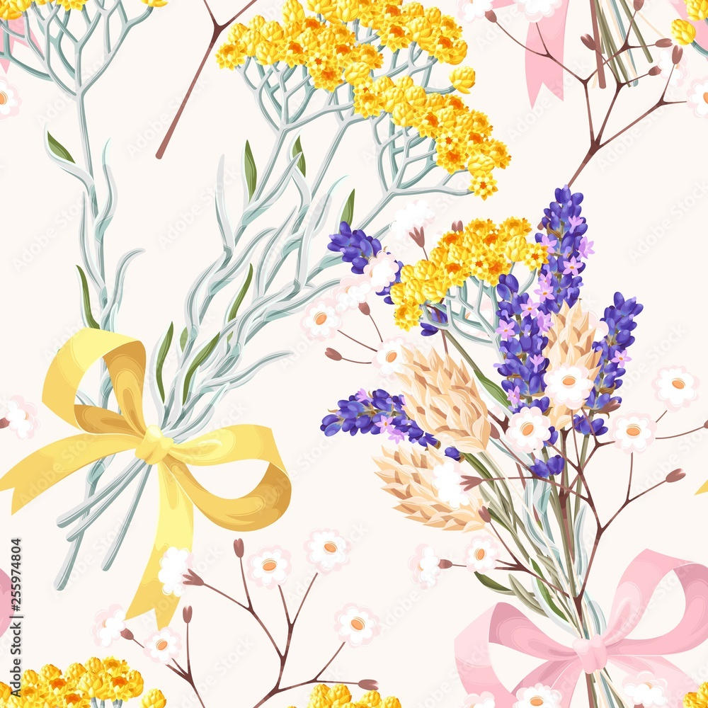 Fototapeta Pastel vector seamless pattern with dried flowers