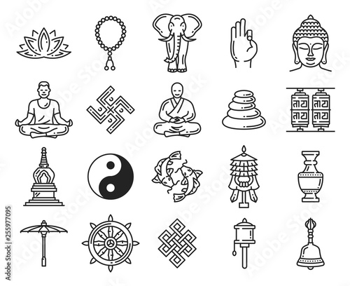 Fotografia  Buddhism religion linear icons and symbols