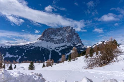 Fotografía  view of the Sassolungo mountain from the Gardena pass, Val gardena, Groeden, Bol