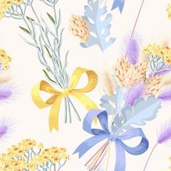 Fototapeta na wymiar Pastel vector seamless pattern with dried flowers