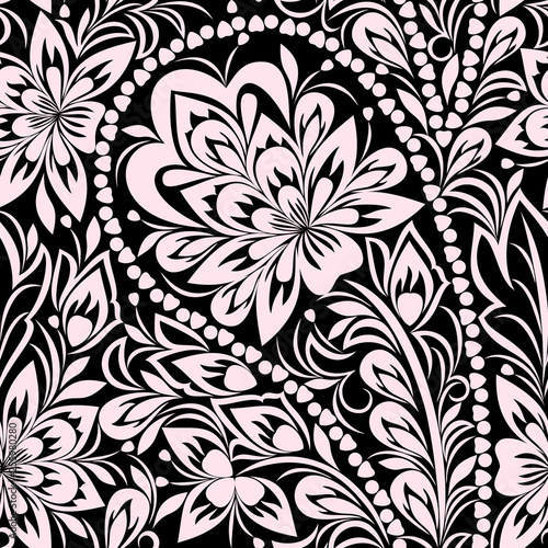 Fotografía Seamless black and white pattern with paisley and flowers
