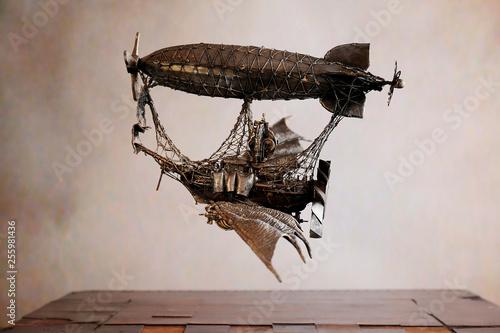 Fotografie, Obraz  Dirigibile Steampunk su scacchiera