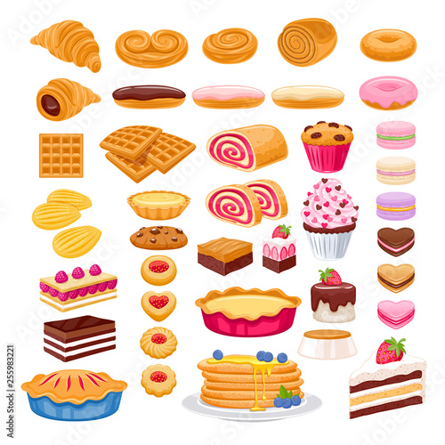 Valokuvatapetti Sweet pastry icons set. Vector bakery products.