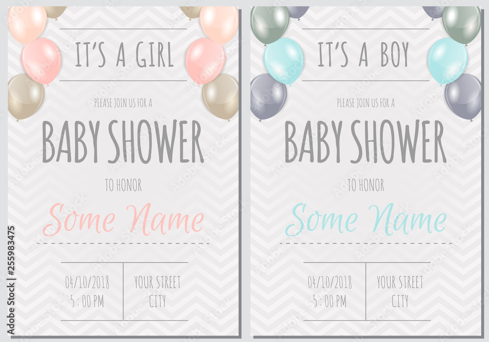 Obraz Set Of Baby Shower Invitation Card Babies Boy And Girl