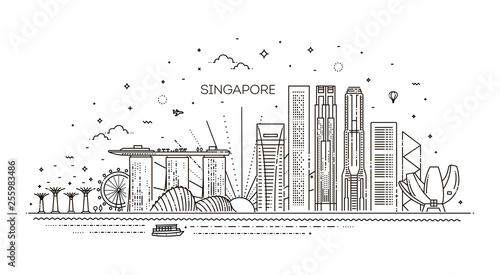 Singapore architecture line skyline illustration Wallpaper Mural