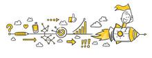 Strichfiguren / Strichmännchen: Business, Rakete, Startup. (Nr. 346)