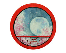 Watercolor Traditional Landscape Full Moon And Cherry Blossom Or Sakura Flower Looking View Through Round Frame Chinese Window.isolated On White Background.