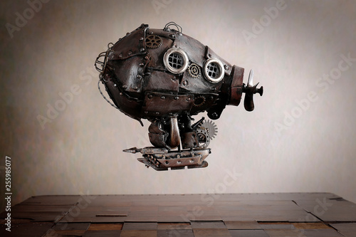 Dirigibile Steampunk su scacchiera Wallpaper Mural