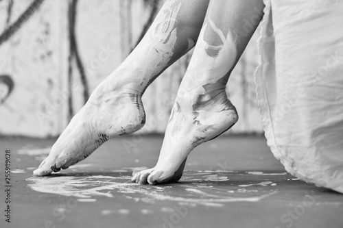 Legs And Feet Of A Young Artistically Abstract Painted Woman Ballerina With White Paint Creative Body Art Art Painting Buy This Stock Photo And Explore Similar Images At Adobe Stock