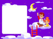 canvas print picture - Happy children holding blank poster. Template for advertising brochure. Ready for your message. Children look up with interest. Kids learning about the stars and moon. Concept of children's learning.