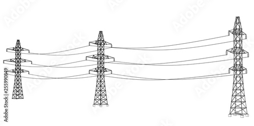 Fotografia Electric pylons or electric towers concept. Vector