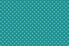 Blue Background With Blue Green Polka Dots, Retro Spotted Pattern Design With Circles Shapes