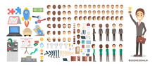 Businessman Character Set For The Animation With Various Views
