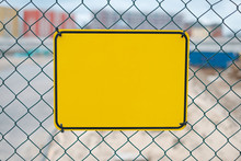 Blank Yellow Sign On Construct...