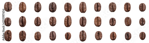 Poster Café en grains Set coffee beans isolated on white background