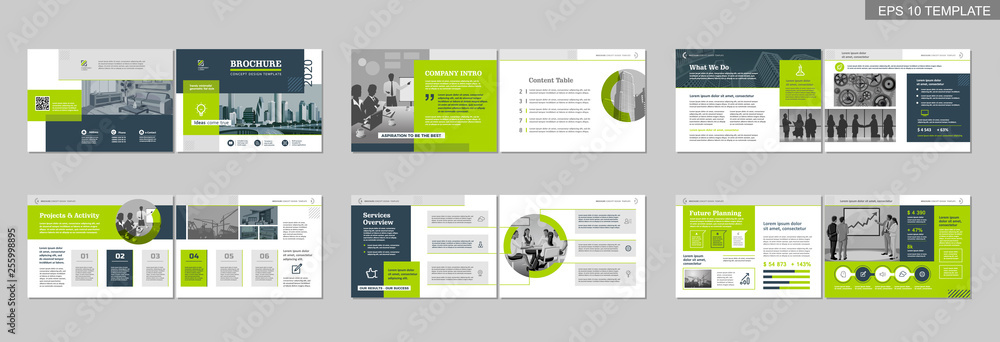 Fototapeta Brochure creative design. Multipurpose template with cover, back and inside pages. Trendy minimalist flat geometric design. Horizontal landscape a4 format.