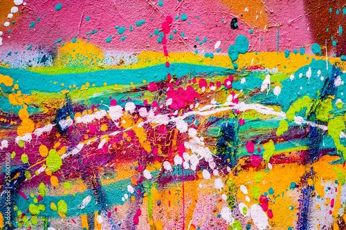 Obraz na plátne  Arrière plan tâches de peinture multicolore