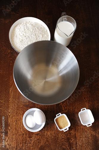Foto op Plexiglas Ingredients for pancakes on dark background top view