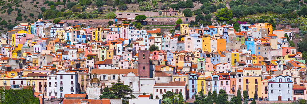 Fototapety, obrazy: Panoramic view of Bosa town, Sardinia island, Italy. Popular travel destination