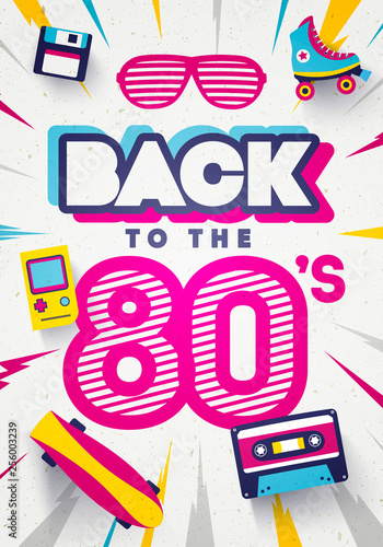 Vector Back to the 80's Colorful Retro Background Tablou Canvas
