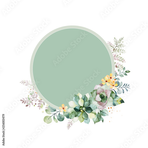 Fototapeta Watercolor Green Illustration Pre Made Greeting Card With Foliage Fern Leaves Branches Yellow Flowers And More Perfect For