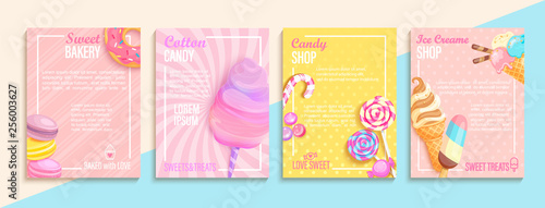 Set of bakery,candy,cotton candy,ice cream flyers,banners Canvas-taulu