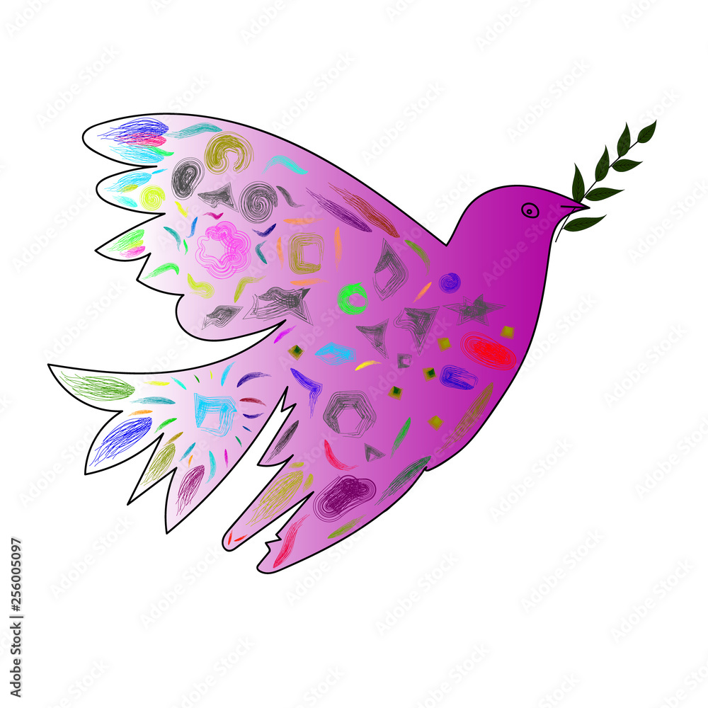 Vector image of a dove with an olive branch in the style of cubism