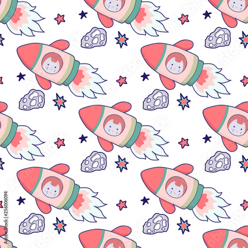 Photo  Japanese kawaii cat travels in space seamless pattern