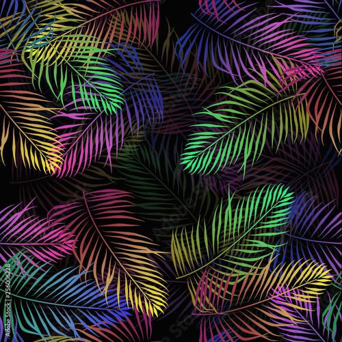 Türaufkleber Künstlich tropical sprout leaves palmf neon flowers