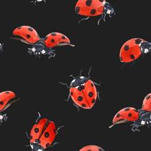 Watercolor Ladybug Seamless Vector Pattern