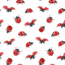 Watercolor Ladybug Seamless Ve...