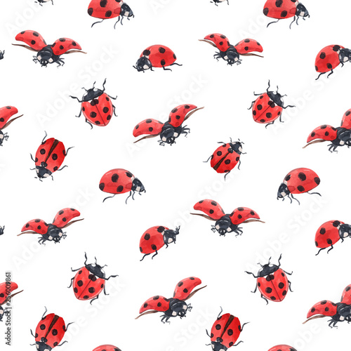 Cuadros en Lienzo Watercolor ladybug seamless vector pattern