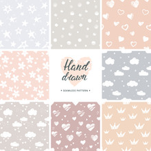 Hand Drawn Vector Set Of 8 Background Seamless Patterns In Various Colors.