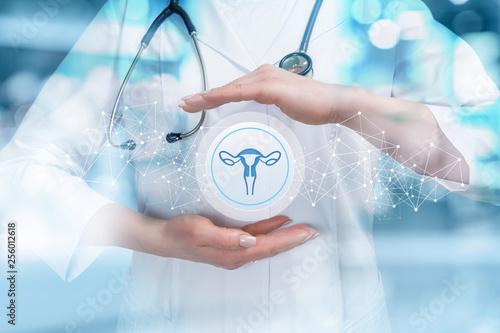 Obraz na plátně  The doctor protects the uterus .